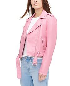 Women's Faux-Leather Moto Jacket
