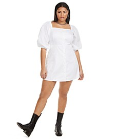 Plus Size Puff Sleeve Mini Dress, Created for Macy's