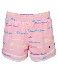 Big Girls Multi-Color Script Logo Woven Shorts