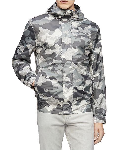 Calvin Klein Men's Camo Mirror Weather-Resistant Hooded Jacket