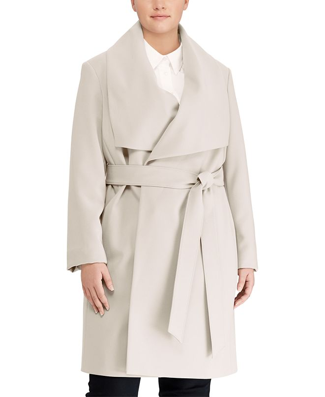 Lauren Ralph Lauren Plus-Size Belted Crepe Coat