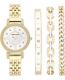 Anne Klein Women's Gold-Tone Bracelet Watch 30mm Gift Set