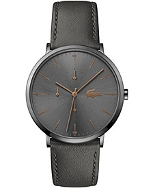 Women's Swiss Moon Gray Leather Strap Watch 40mm