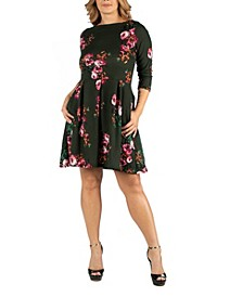 Green Floral Fit N Flare Pockets Plus Size Dress