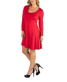 Long Sleeve Flared Plus Size T-Shirt Dress