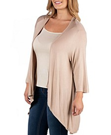 Elbow Length Sleeve Plus Size Open Cardigan
