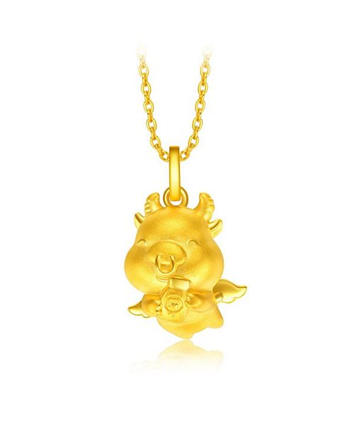 Chow Tai Fook Ox Charm Pendant in 24K Gold