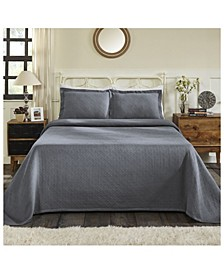 Basket Weave Jacquard Matelasse 3 Piece Bedspread Set, Full