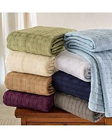 Basket Weave Woven All Season Blanket, Full/Queen