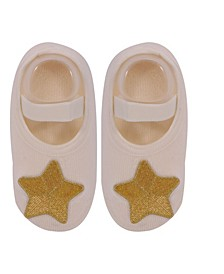 Baby Boys and Girls Anti-Slip Cotton Socks with Golden Star Applique