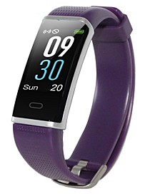 Womens Purple Rubber Band Activity Tracker and Heart Rate Monitor Watch 19mm
