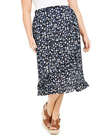 Plus Size Ruffled Floral-Print Midi Skirt