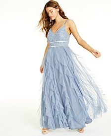 Juniors' Embellished Ruffled Gown, Created for Macy's