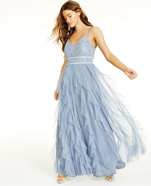 Teeze Me Juniors' Embellished Ruffled Gown, Created for Macy's