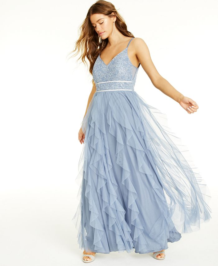 Teeze Me - Juniors' Embellished Ruffled Gown
