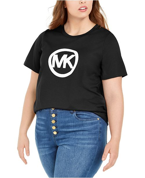 Michael Kors Plus Size Floral Logo Cotton T-Shirt