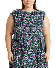 Plus-Size Georgette Cap-Sleeve Dress