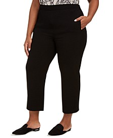 Trendy Plus Plus Size Black Slim-Ankle Dress Pants, Created For Macy's