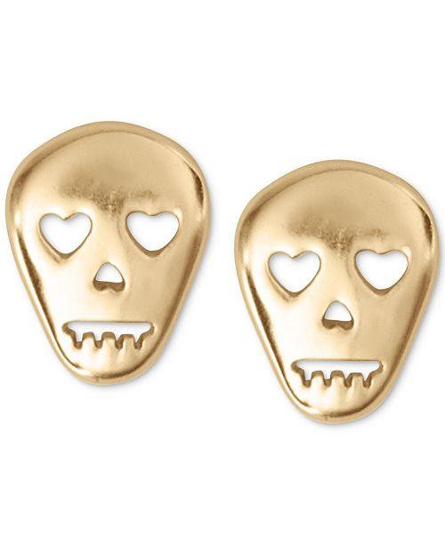 Lucky Brand Gold-Tone Skull Stud Earrings
