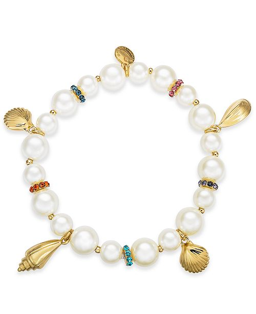 Charter Club Gold-Tone Pavé & Imitation Pearl Beaded Shell Stretch Bracelet, Created For Macy's