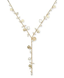 "INC Gold-Tone Imitation Pearl & Hammered Disc Lariat Necklace, 22"" + 3"" extender, Created for Macy's"