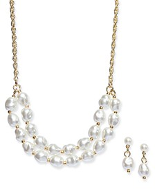 Gold-Tone 2-Pc. Set Imitation Pearl Statement Necklace and Matching Drop Earrings, Created for Macy's