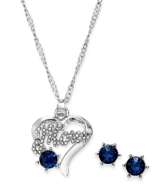 Charter Club Silver-Tone Crystal Mom Heart Pendant Necklace & Stud Earrings Set, Created for Macy's