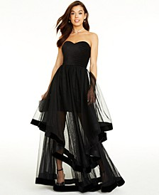 Juniors' Velvet-Piped Mesh Gown