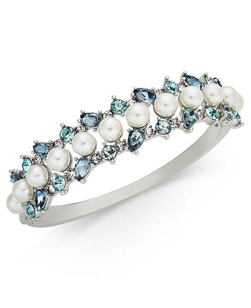 Charter Club Silver-Tone Imitation Pearl & Crystal Bangle Bracelet, Created for Macy's