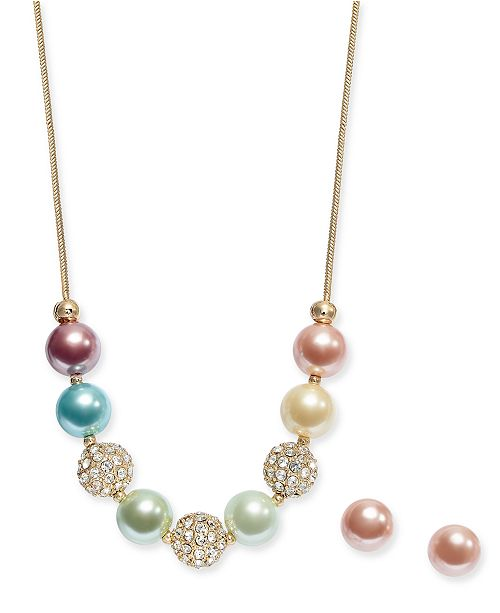 Charter Club Gold-Tone Pavé Fireball & Imitation Pearl Collar Necklace & Stud Earrings Set, Created For Macy's