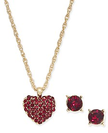 Gold-Tone 2-Pc. Set Crystal Pavé Heart Pendant Necklace & Coordinating Stud Earrings, Created for Macy's
