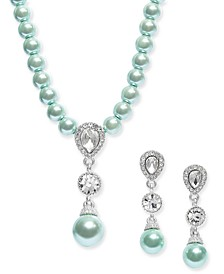 Silver-Tone Imitation Pearl & Cubic Zirconia Pendant Necklace & Drop Earrings Set, Created for Macy's