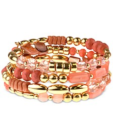 Silver-Tone Beaded Coil Bracelet, Created For Macy's
