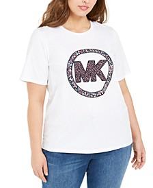 Plus Size Floral Logo Cotton T-Shirt