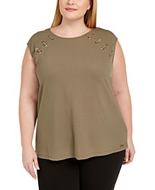 Plus Size Strappy-Shoulder Sleeveless Top