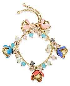 INC Gold-Tone Shaky Bead & Flower Bolo Bracelet, Created for Macy's