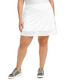 Plus Size Shadow-Stripe Skort, Created for Macy's