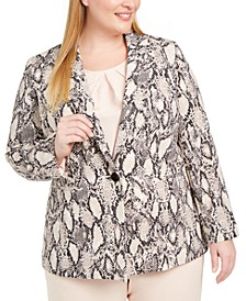 Plus Size Printed One-Button Blazer