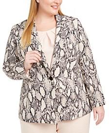 Plus Size Printed One-Button Blazer