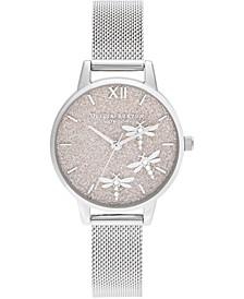 Women's Dancing Dragonfly Stainless Steel Mesh Bracelet Watch 30mm