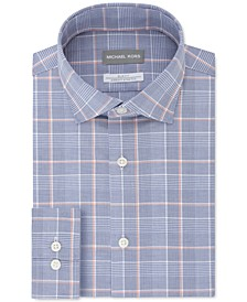 Men's Slim-Fit Airsoft Non-Iron Performance Stretch New Blue Check Dress Shirt