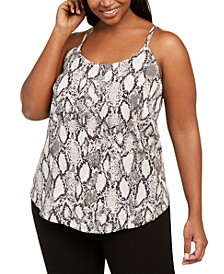 Trendy Plus Size Snake-Print Camisole, Created for Macy's