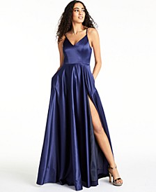 Juniors' V-Neck Satin Gown