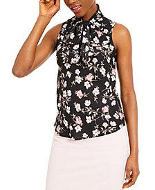 Bar III Floral-Print Sleeveless Top, Created for Macy's