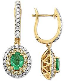 Emerald (1-1/4 ct. t.w.), White Diamond (1/2 c.t. t.w.) & Yellow Diamond (1/2 c.t. t.w.) Halo Drop Earrings in 14k Gold