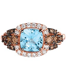 Chocolatier® Blue Topaz (1-1/2 ct. t.w.) & Diamond (5/8 ct. t.w.) Ring in 14k Strawberry Gold