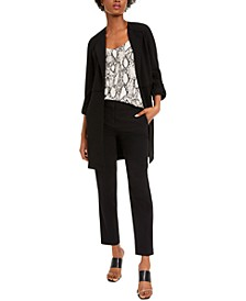 Long Shawl-Collar Jacket With Snakeskin-Print Camisole & Straight-Leg Dress Pants, Created For Macy's