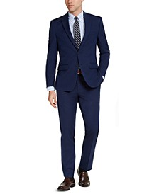 Men's Slim-Fit Stretch Bright Navy Blue Solid Suit