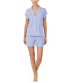 Short Sleeve Drop Shoulder Boxer Shorts Pajama Set