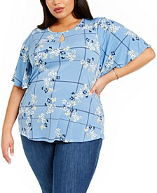 Plus Size Floral-Print Keyhole Top, Created for Macy's